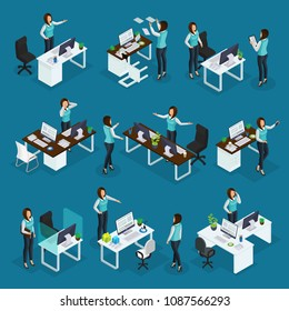 Isometric business woman at work collection of businesswoman with different emotions in various situations isolated vector illustration