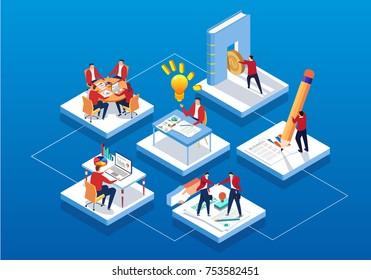Isometric business workflow