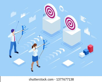 Isometric Businessman and Businesswoman shooting a bow and arrow. Success. Arrow hit the center of the target. Business target achievement concept.