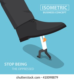 Isometric businessman fights against giant foot, oppressed, conflict concept, VECTOR, EPS10