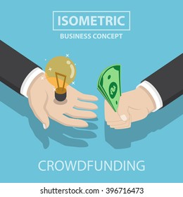 Isometric businessman hands buy and sell new idea, crowdfunding concept, VECTOR, EPS10