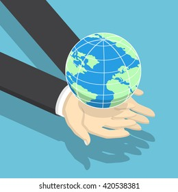 Isometric businessman holding earth globe on his hands, global business, communications, environmental conservation concept, VECTOR,EPS10