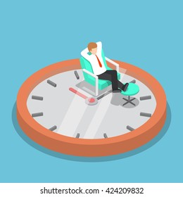 Isometric businessman holding hands behind head and relaxing on the sofa with clock, break time, time management concept, VECTOR, EPS10