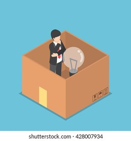 Isometric businessman with light bulb of idea inside the paper box, think inside the box, business idea concept