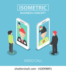 Isometric businessman makes video call with his colleague on smartphone, VECTOR, EPS10