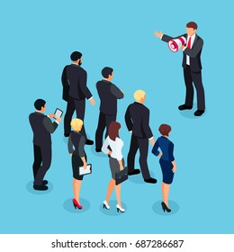 Isometric businessman with megaphone speaking before a group of people. Businessman with a loudspeaker makes a warning. 3d people in different poses listen to the speaker. Vector illustration.