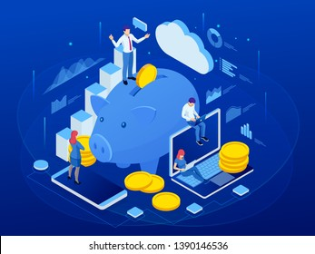 Isometric businessman putting a coin into a piggy bank. Save money concept. Manage money and finance analytics.