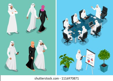 Isometric businessman Saudi Arab man and woman character design with different poses, car on blue background isolated vector illustration. Arabic Business man on Traditional National Muslim Clothes.