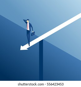 Isometric businessman standing on an arrow over the abyss, business concept stalemate and embarrassing situation