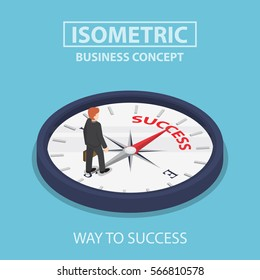 Isometric businessman standing on compass that pointing to success way, motivation concept