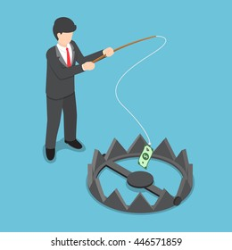 Isometric businessman stole money from bear trap by fishing rod, investment risk, business challenge concept