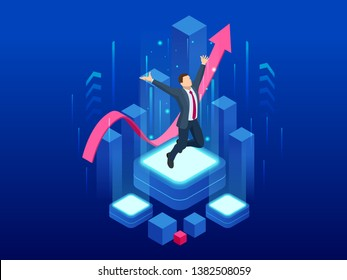 Isometric businessman success, leadership, awards, career, successful projects, goal, winning plan, leadership qualities in a creative team, direction on a successful path concept