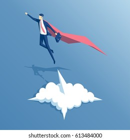 Isometric businessman superhero flies up and leaves a cloud of dust. Super worker in the red robe takes off. Business concept's power and uniqueness