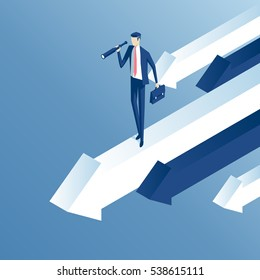 Isometric businessman with telescope stands on moving forward arrow. Business concept search capabilities and good direction