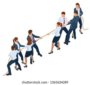 Isometric businessmen and businesswomen in suit pull the rope, competition, conflict. Tug of war and symbol of rivalry.