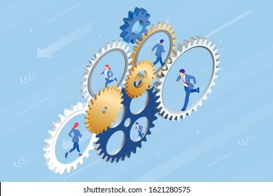 Isometric Businessmen running in gear wheel. Business of hard work, motivation and success concept.