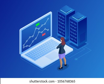 Isometric businesswomen trading stocks online. Stock broker looking at graphs, indexes and numbers on multiple computer screens. Cryptocurrency and Blockchain concept.
