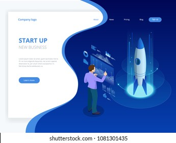 Isometric Businnes Start Up Concept. Income and Success. Vector Business Infographics illustration