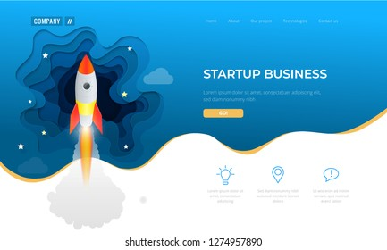 Isometric Businnes Start Up for web page, banner, presentation, social media concept landing page design. Income and Success. Vector Business Infographics illustration.