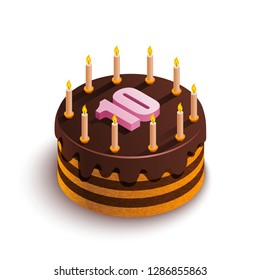 Isometric cake on a white background. Round chocolate cake with candles and a pink number 10 at the top. Festive food. Birthday holiday. Vector stock illustration.