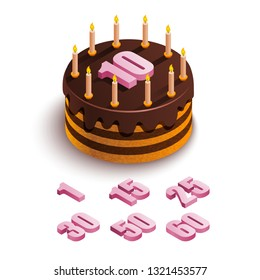 Isometric cake on a white background. Round chocolate cake with candles and a pink number 10  and other numbers at the top. Festive food. Birthday holiday. Vector stock illustration.