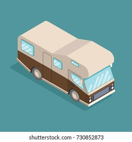 Isometric camping car. Travelling advertisement, infographics, game, mobile apps icon design