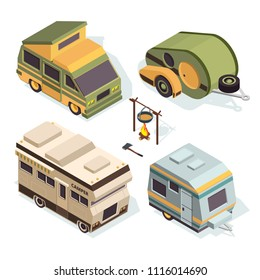 Isometric camping cars. Vector pictures isolate on white. Illustration of camper transportation truck, motorhome auto