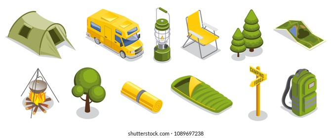 Isometric camping elements set with tent travel bus lantern chair trees map food cooking sleeping bag signboard backpack isolated vector illustration