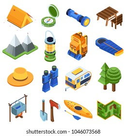 Isometric camping icon set. Hiking isometry elements and equipment icons. Camp and adventure gear. Mountains, Rv camper trailer, backpack, rafting boat, campfire, lantern, binoculars, tourist tent.