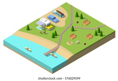 Isometric camping vector illustration. flat 3d design.