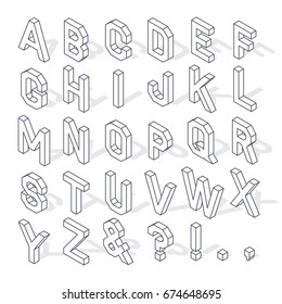 Isometric capital letters of the Latin alphabet and symbols, with shadow and editable stroke isolated on white background
