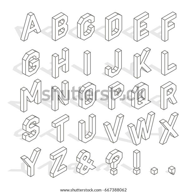 Verwonderlijk Isometric Capital Letters Latin Alphabet Symbols Stock Vector ZC-04