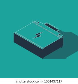 Isometric Car battery icon isolated on green background. Accumulator battery energy power and electricity accumulator battery. Lightning bolt.  Vector Illustration