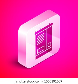 Isometric Car battery icon isolated on pink background. Accumulator battery energy power and electricity accumulator battery. Silver square button. Vector Illustration