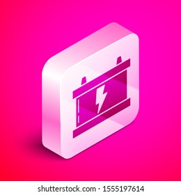 Isometric Car battery icon isolated on pink background. Accumulator battery energy power and electricity accumulator battery. Lightning bolt. Silver square button. Vector Illustration