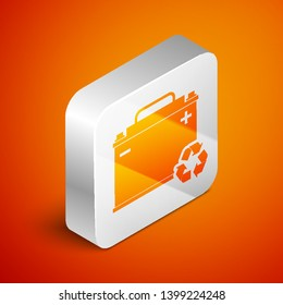 Isometric Car battery with recycle icon isolated on orange background. Accumulator battery energy power and electricity accumulator battery. Silver square button. Vector Illustration