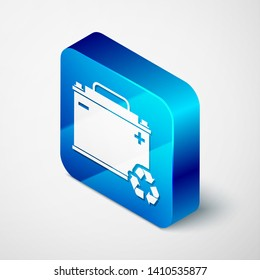 Isometric Car battery with recycle icon isolated on white background. Accumulator battery energy power and electricity accumulator battery. Blue square button. Vector Illustration