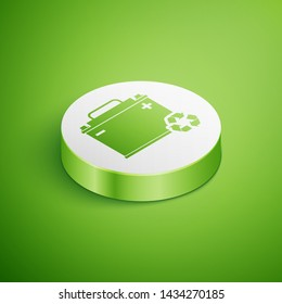 Isometric Car battery with recycle icon isolated on green background. Accumulator battery energy power and electricity accumulator battery. White circle button. Vector Illustration