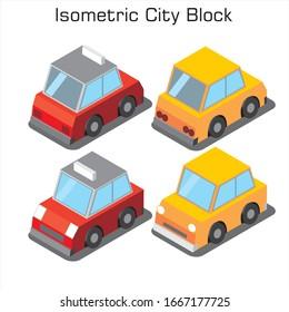 Isometric car city set vector