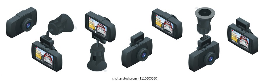 Isometric Car DVR Portable Mobile DVR Video Camera Camcorder with LCD Screen installed on the windscreen isolated on white background vector illustration