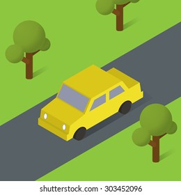 Isometric car icon on the road. Vector illustration