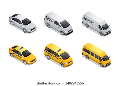 Isometric car icons isolated on white background. Vehicles for freight and passenger transportation, yellow taxi sedan and mini van with shadow and highlights