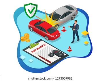 Isometric Car Insurance services. Auto insurance policy with cash and key fob. Protection from danger, providing security.