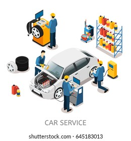 Isometric car repair center concept with workers auto diagnostic wash tire changing services cleaning tools equipment isolated vector illustration