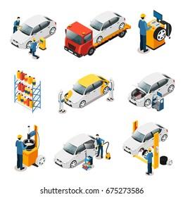 Isometric Car Repair Services Set