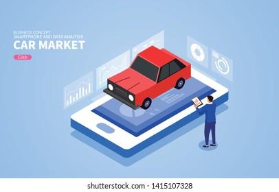 Isometric car sales market data analysis