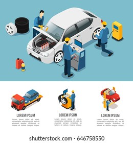 Isometric car service composition with mechanics changing tires diagnosing motor and auto evacuating isolated vector illustration