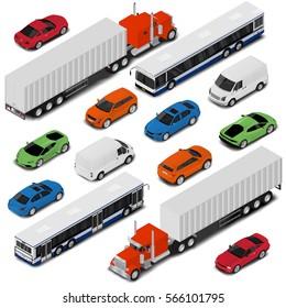 Isometric car set : van, bus, sport coupe, sedan, off road sport auto and big truck. Isometric city transport set.