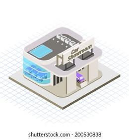 Isometric Car Showroom Vector Illustration