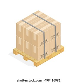 Isometric Cardboard Boxes On Wooden Pallet. Warehouse parts boxes on wood tray. Cargo box. Vector illustration in flat design isolated on white background.